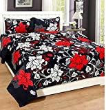Solo Fractions Offered 188TC 3D Polycotton Double bedsheets with 2 Free Maching Pillow Covers Sheet Size 228x228 Colorcode-Black & Red