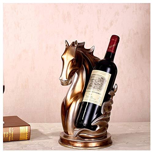 Estante de Vino Decoración de la Cabeza de Caballo Titular de la Botella de Vino Decoración del Hogar Europeo Salón Vinoteca Muebles