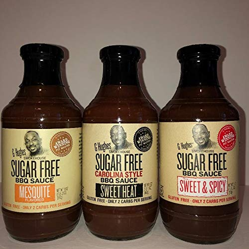 G Hughes Sugar Free Assorted BBQ (1) Carolina Style (1) Sweet & Spicy and (1) Mesquite Flavor 18 oz Bottles each
