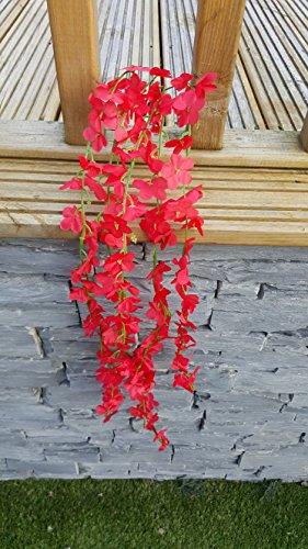 Best Artificial 80 cm, colore: rosso con fiori rampicanti-Ghirlanda da appendere per piante di vite