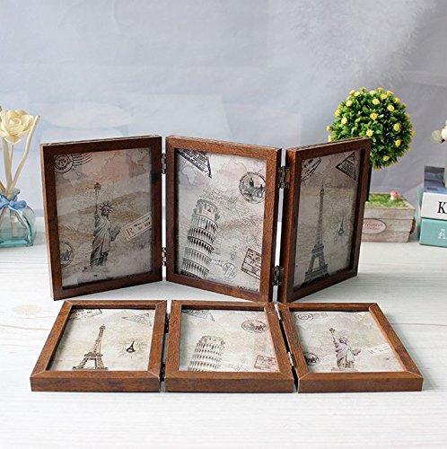 Xshelley 3solide Holzrahmen,doppelt klappbarer Rahmen,doppelseitiger Bilderrahmen,180-Grad-Rotation,Fotoalbum,13x18cm
