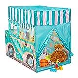 Relaxdays Ice Cream Truck, Pop up Kinderzelt mit Automotiv, drinnen und draußen, HxBxT: 100x70x120 cm, ab 3 Jahre, bunt