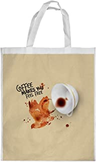 coffee makes you feel free Printed Shopping bag, Large Size