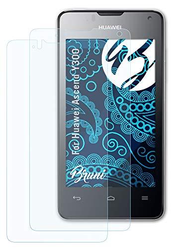 Bruni Schutzfolie kompatibel mit Huawei Ascend Y300 Folie, glasklare Bildschirmschutzfolie (2X)