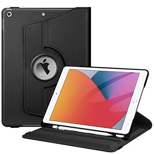 Fintie Hülle für iPad 10.2 Zoll (8. & 7 Generation, Modell 2020/2019), 360 Grad Rotierend Stand Schutzhülle Cover mit eingebautem Pencil Halter, Auto Schlaf/Wach Funktion, Schwarz