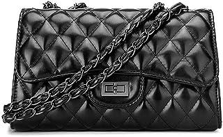9f841fd6e1 Mishuo sac bandouliere femme petit sac à main noir cuir matelassé avec  bandoulière chaîne tendance vintage