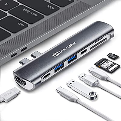 DesertWest 7-in-2 Business USB C Hub Adapter Co...