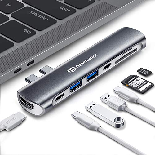 DesertWest MacBook Pro Hub Adapter, USB C Hub for MacBook Pro 2018/17/16,MacBook Air 2018,with SD/Micro Card Reader,HDMI,Thunderbolt 3,USB C Port,USB 3.1