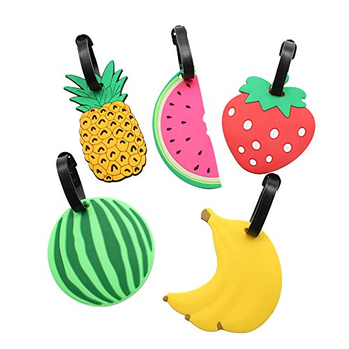 Mziart Colorful Fruits Luggage Tags Baggage Suitcase Backpack Labels, Set of 5 (Banana, Pineapple, Strawberry, 2 Watermelons)