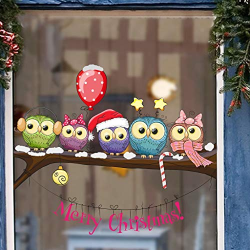 HENJIA Búho Vestido de Navidad en una Rama de árbol Pegatinas de Pared Ventana de la Pared Pegatinas Autoadhesivas de Navidad DIY Pegatinas de Tienda decoración