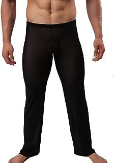 Pantalón de Chándal Hombre Transparente Pantalones Pijama en Casa Malla Tul Ligero Pants Hombre Ropa Interior