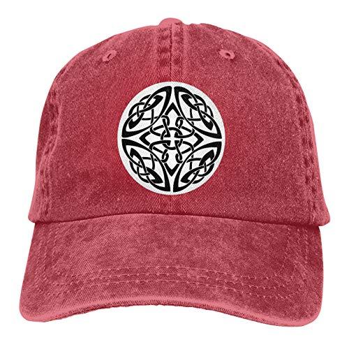 Celtic Knot Abstract Cross Tribal Cap,Adjustable Baseball Cap Unisex Washable Cotton Trucker Cap Red
