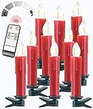 Lunartec Weihnachtskerzen: FUNK-Weihnachtsbaum-LED-Kerzen mit Fernbedienung, 10er-Set, rot (Funk-Weihnachtsbaumkerzen)