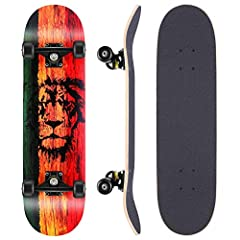 """【STURDY & STRONG】7 layers Canadian maple deck,31""""*8"""", offers perfect balance between toughness and weight. Maximum load weight up to 220 pounds, equipped with 5 inch magnesium alloy trucks. Reliable for beginner and skilled 【SMOOTH & SPEEDY】High spee..."""