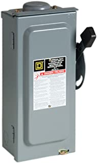 Square D by Schneider Electric D322NRB 60-Amp 240-Volt Three-Pole Outdoor General Duty Fusible Safety Switch with Neutral