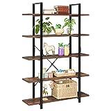 homfa scaffale libreria vintage da terra scaffalatura stabile a 5 ripiani rack di stoccaggio portaoggetti versatile stile industriale legno metallo 177.5 x 105.5 x 33 cm