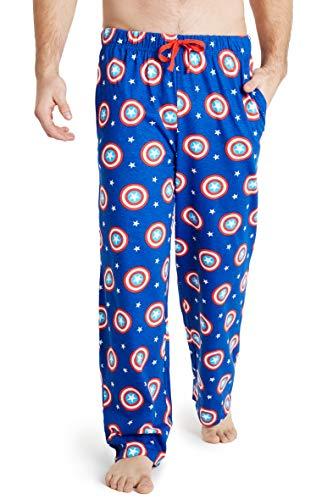 Marvel Pijama Hombre, Pantalon Pijama Hombre con Escudo Capitan America, Ropa Hombre 100% Algodon, Merchandising Oficial Regalos para Hombre Talla S-3XL (Azul, XL)