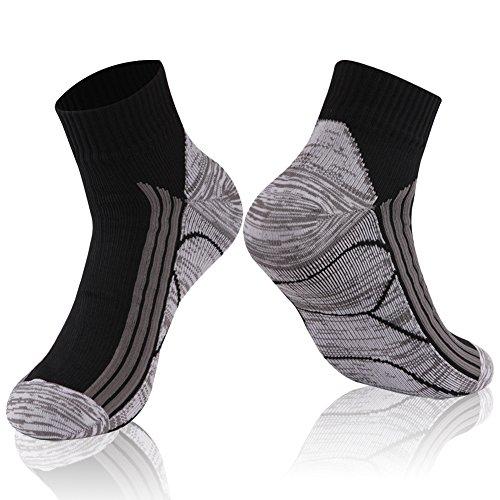 RANDY SUN 100% Waterproof Socks, Running Breathable Unisex Hiking Cycling Climbing Fishing Fitness Socks(1 Pair Ankle Black L)