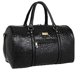 Fur Jaden Black Textured Leatherette Stylish & Spacious Weekender Duffle Bag for Travel for Men and Women,FUR JADEN