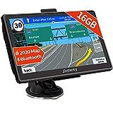 Bluetooth Navi Navigation für Auto Navigationsgerät LKW Navigationssystem PKW 7 Zoll 16GB Kostenloses Kartenupdate mit Freisprecheinrichtung POI Blitzerwarnung Sprachführung Fahrspur 2020 Europa Karte