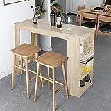 MUPAI Table Bar avec 4 Rangements à 4 Personnes pour Cuisine/Bar/Salon (Chêne, 115x50x103cm)