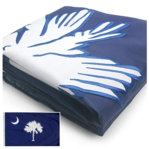 VSVO South Carolina State Flag 3x5 ft. Double Sided Embroidered 300D Heavy Duty Nylon for Outdoor/Indoor Use - Sewn Stripes, Brass Grommets, UV Protected, Fade Resistant US SC Flag