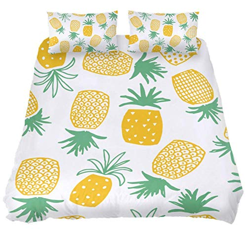 Duvet Cover Set Pineapple Pattern Comforter Bedding Sets Soft 3 Piece Twin Size with 2 Pillow Shams Hypoallergenic Soft and Comfortable Zipper