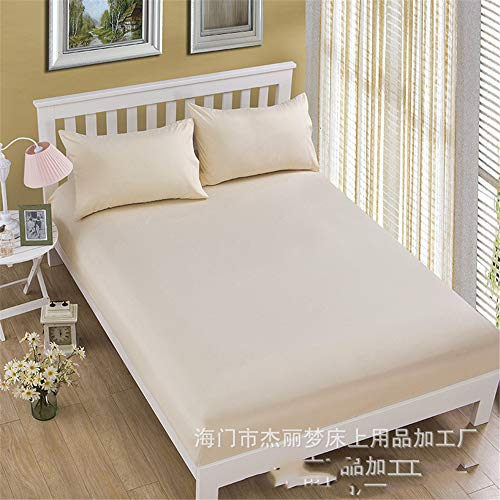 huyiming Polyester sheet cover bed cover Brown pad set Sims mattress cover Dust cover 1.8 non-slip Milky yellow 120 * 200 * 25