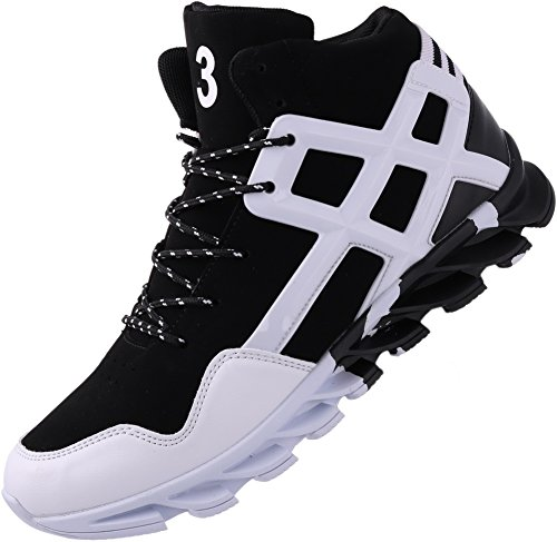 JOOMRA Men's Tennis Shoes Mid High Top Ankle Leather Lace up Basketball Young Man Casual Winter Autumn Sport Footwear Jogging Fashion Sneakers White 10 D(M) US