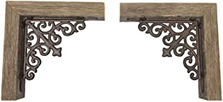 Reclaimed Wood Corbel for Corners, Rustic Mount Decor, Metal Accent Bookend Set