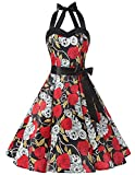 Dresstells® Halter 50s Rockabilly Polka Dots Audrey Dress Cosplay Halloween Dress Black Skull L