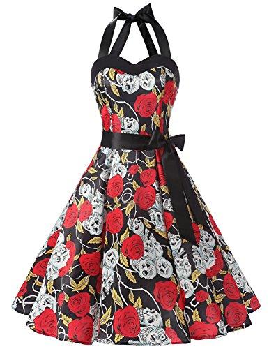 DRESSTELLS Neckholder Rockabilly 1950er Polka Dots Punkte Vintage Retro Cocktailkleid Petticoat Faltenrock Black Skull Dot M