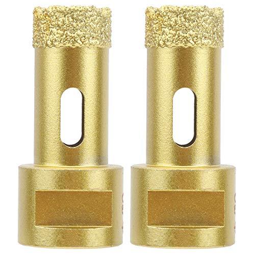 2 piezas de abridor de sierra de diamante, cristal dorado, piedra artificial, broca para soldadura fuerte, taladro, mármol, herramientas de hormigón para taladro eléctrico manual, taladro de banco