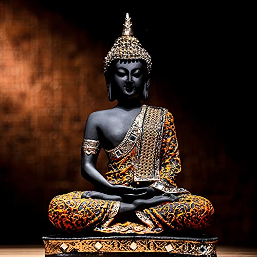 Global Grabbers Polyresin Sitting Buddha Idol Statue Showpiece for Home Decor Diwali Decoration and Gifting, Orange and Black, 24CM, 1Piece