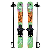 Sola Winnter Sports Kid's Beginner Snow Skis and Poles with Bindings Age 3-4 (Tiger)