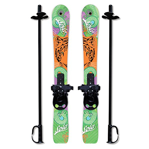 Sola Winnter Sports Kid's Beginner Snow Skis and Poles with Bindings Age 2-4 (Tiger)