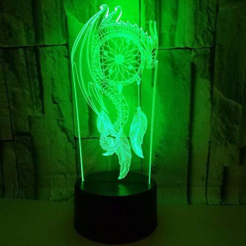 Dtcrzjxh Tableau Coloré Vent Bell 3D Night Light Touch Télécommande Cadeau 3D Lumière Cadeau Saint Valentin Lumières Pour Enfants