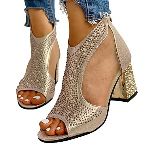 Minetom Sandalias Mujer Bombas Tacones De Bloque Tacones Altos Zapatos Verano Sandalias con Cremallera Fiesta Ocio Boda Noche Sandalias D Dorado 36 EU