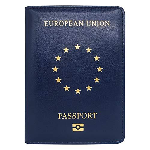 Estuche para Pasaporte de la Unión Europea, con Ranuras para Tarjetas   Cartera de Pasaporte de Piel sintética   Estuche, Etui, Bolsa, Billetera de Viaje - Azul Oscuro