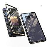Jonwelsy Funda para Samsung Galaxy Note 8, 360 Grados Delantera y Trasera de Transparente Vidrio Templado Case Cover, Fuerte Tecnología de Adsorción Magnética Metal Bumper Cubierta (Dorado/Negro)