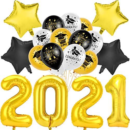 HOWAF 2021 Graduación de Globos de Graduación Birrete Negro y Oro y Blancos de Látex Globos,2021 Graduacion Globos de Aluminio Estrellas para Adulto y niños para Graduacion Fiesta Decoracion