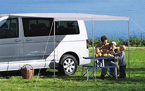 BERGER Sonnenvordach Bus Wohnwagen Sonnenschutz Vordach Camping Sonnensegel Caravan Sonnendach grau