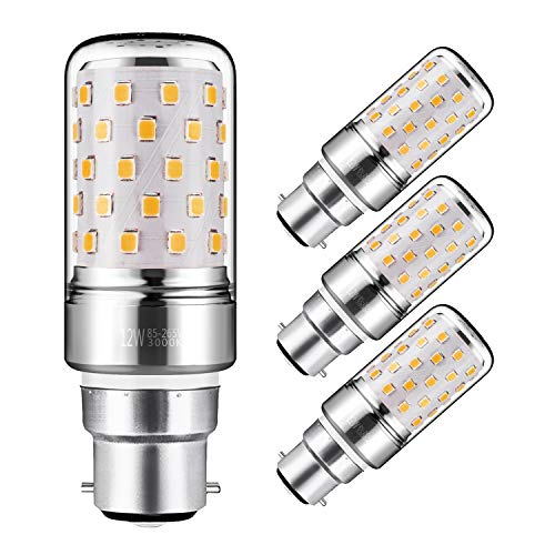 Yiizon LED M Glühbirne, B22, 12W, entspricht 100 W Glühlampe, 3000 K Warmweiß, 1200LM, CRI80 +, Bajonett Kappe LED Birne, nicht dimmbar Kandelaber LED Glühlampen(4 PCS)