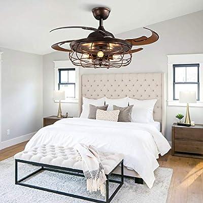 APBEAMLighting Industrial Ceiling Fan Light Reverse Vintage Fan Chandelier Retractable Blades with Remote Control for Kitchen Bedroom Rusty 48 Inch 5 Light 4 Fan Blades