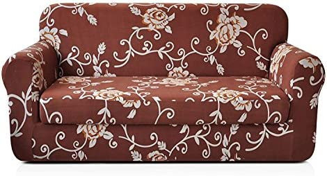 Best CHUN YI 2-Piece Stylish Printed Polyester Spandex Fabric Loveseat Couch Slipcover Soft Elastic Sofa