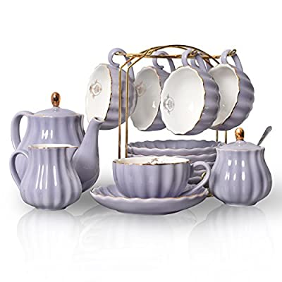 Pukka Home hualisi Porcelain Sets British Royal Series, 8 OZ Cups& Saucer Service for 6, with Teapot Sugar Bowl Cream Pitcher Teaspoons Strainer for Tea/Coff, 17.6 x 13.4 x 7.8 inches