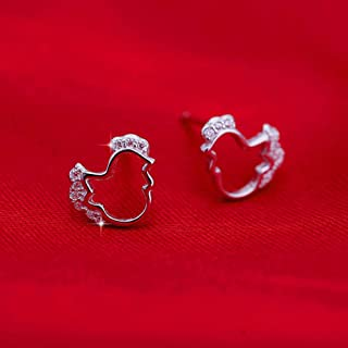 Fashion 1 pair Silver Plated studded cute chicken earrings jewelry Hot Sale