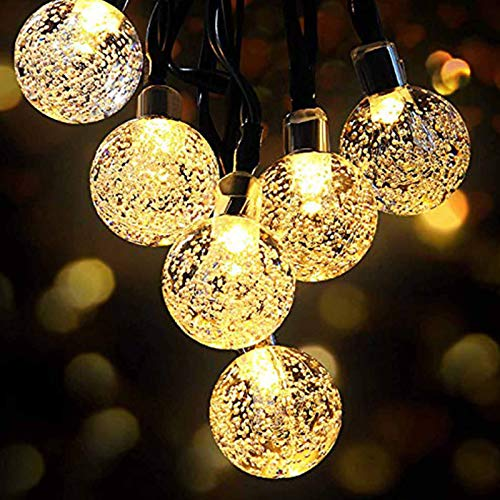 Solar String Lights, 26ft Outdoor Garden Lights Solar/USB Powered, Waterproof 50 LEDs Crystal Ball Decorative Light for Tree, Patio, Yard, Wedding, Warm White