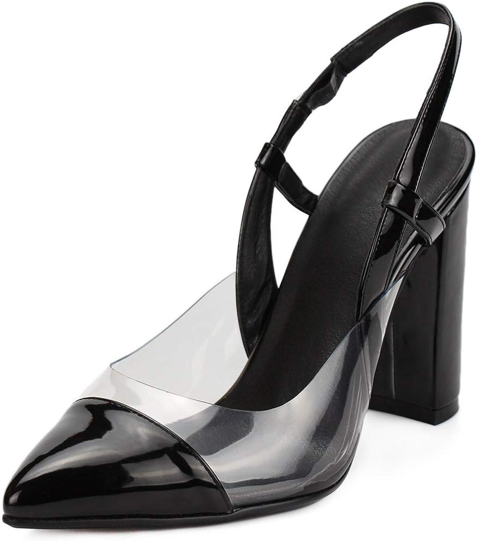 DoraTasia Women's Pointed Toe Slingbacks Ankle-Strap Chunky High Heel Sandal for Women