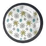 Tirador para cajón de cristal de 35 mm de los años 50 con diseño de círculos de impresión atómica vintage para muebles, para oficina, baño, cocina, armario, aparador, cajones, 4 unidades con tornillos